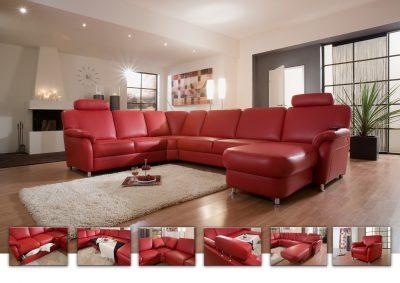 Rote Ledercouch in U-Form mit den Stellmaßen 240 x 330 x 165 cm